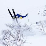 An off-piste backflip from Ski pro Drew